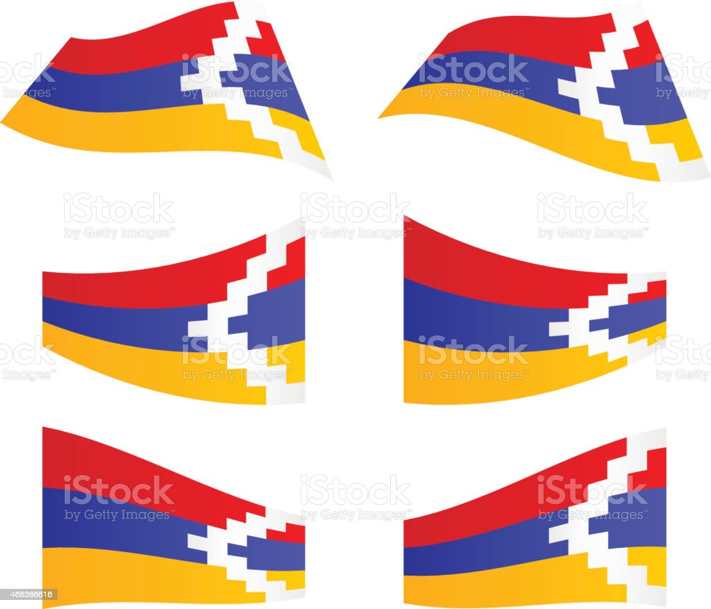 Waving flags of Nagorno-Karabakh Republic vector art illustration
