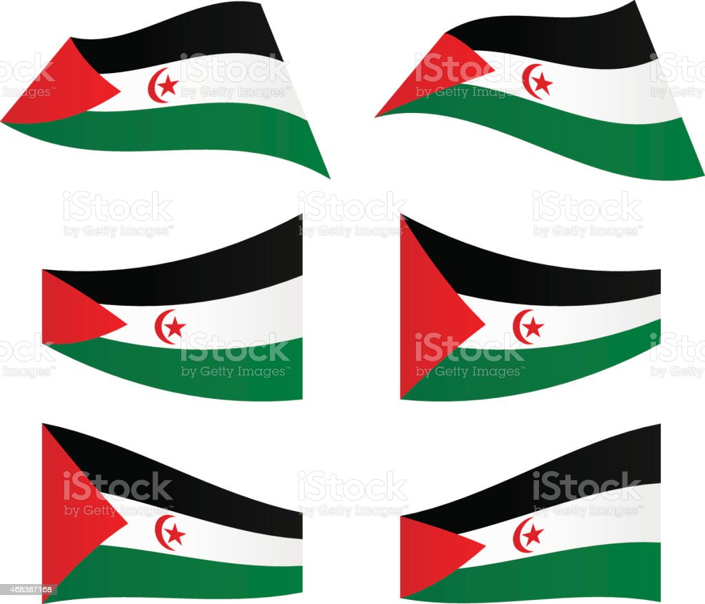 Waving flags of Sahrawi Arab Democratic Republic vector art illustration