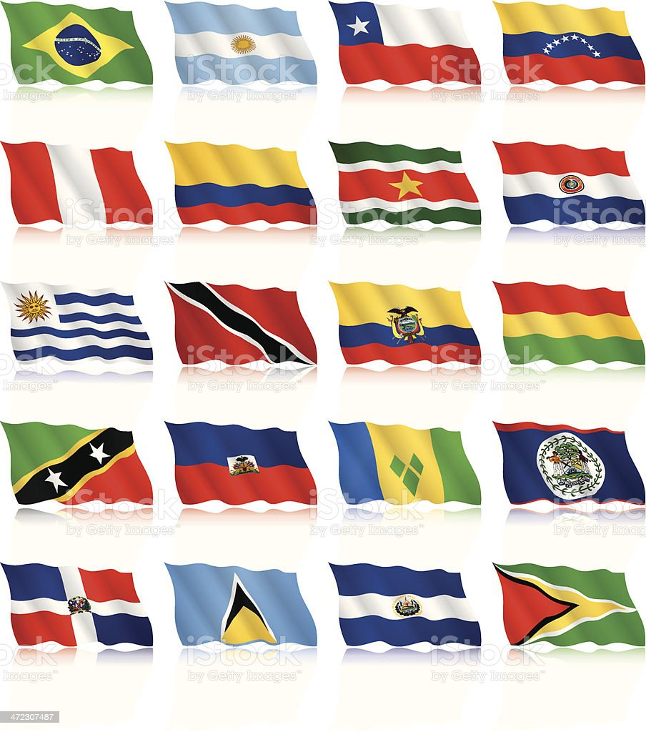 Waving Flags of South and Central America vector art illustration