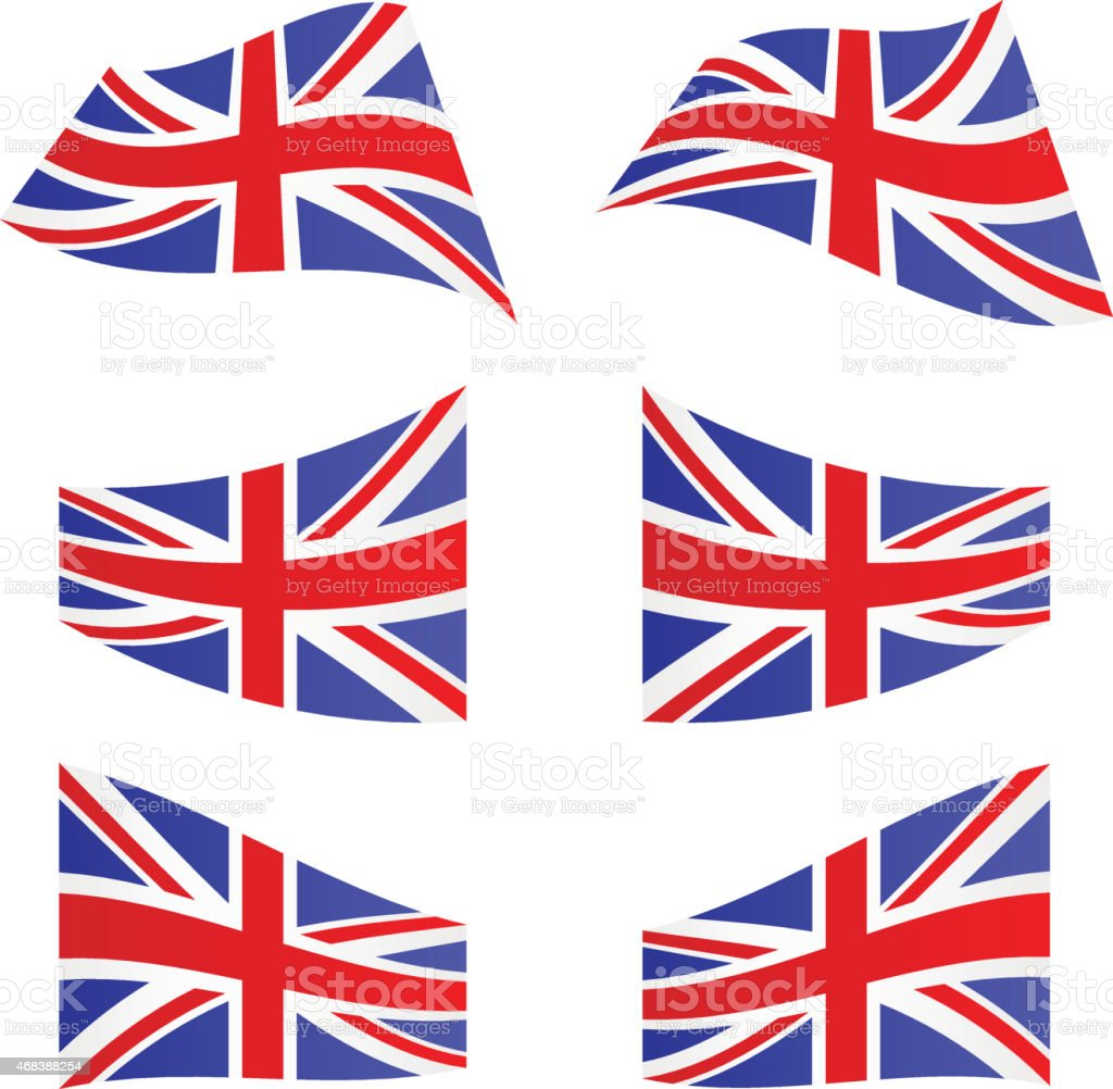 Waving flags of United Kingdom vector art illustration