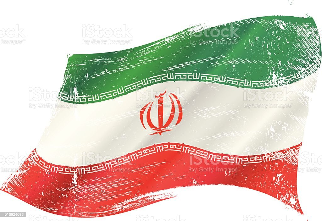 waving iranian grunge flag vector art illustration
