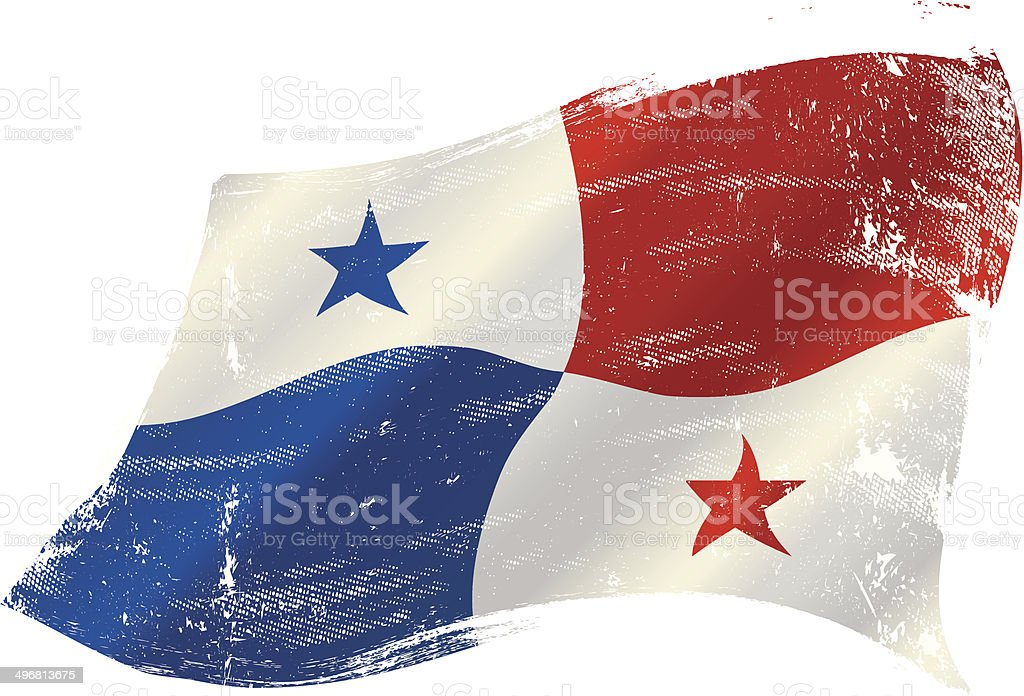 waving Panama grunge flag vector art illustration