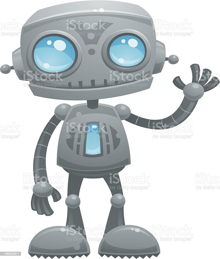 Waving Robot vector art illustration