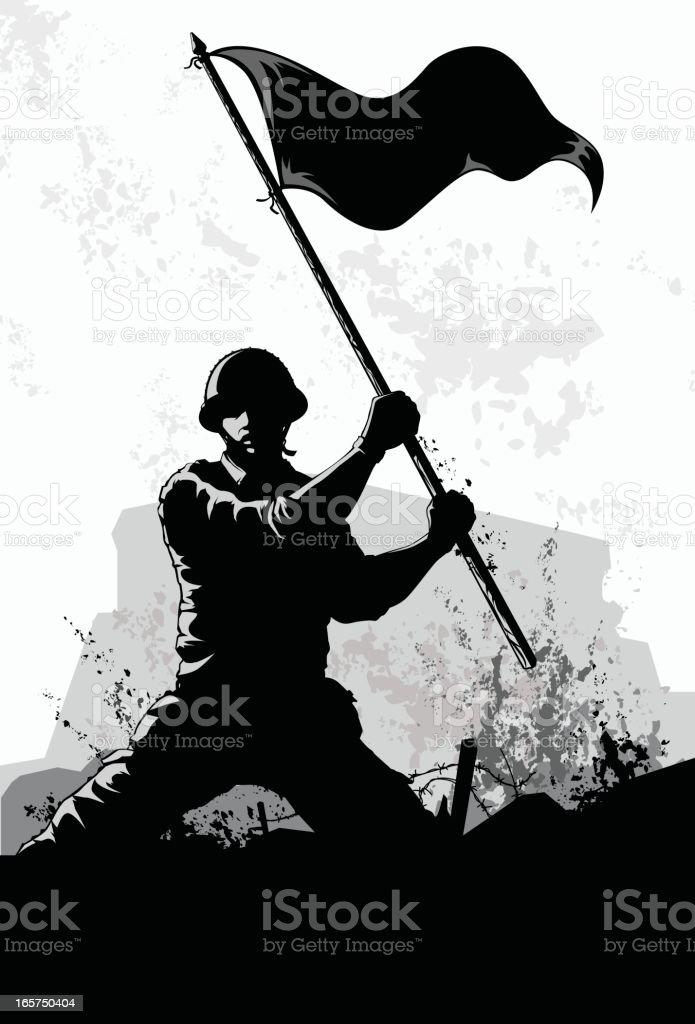 waving the flag vector art illustration