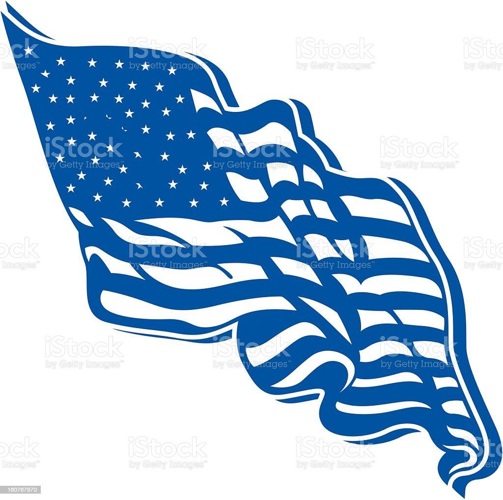 Waving US Flag royalty-free stock vector art