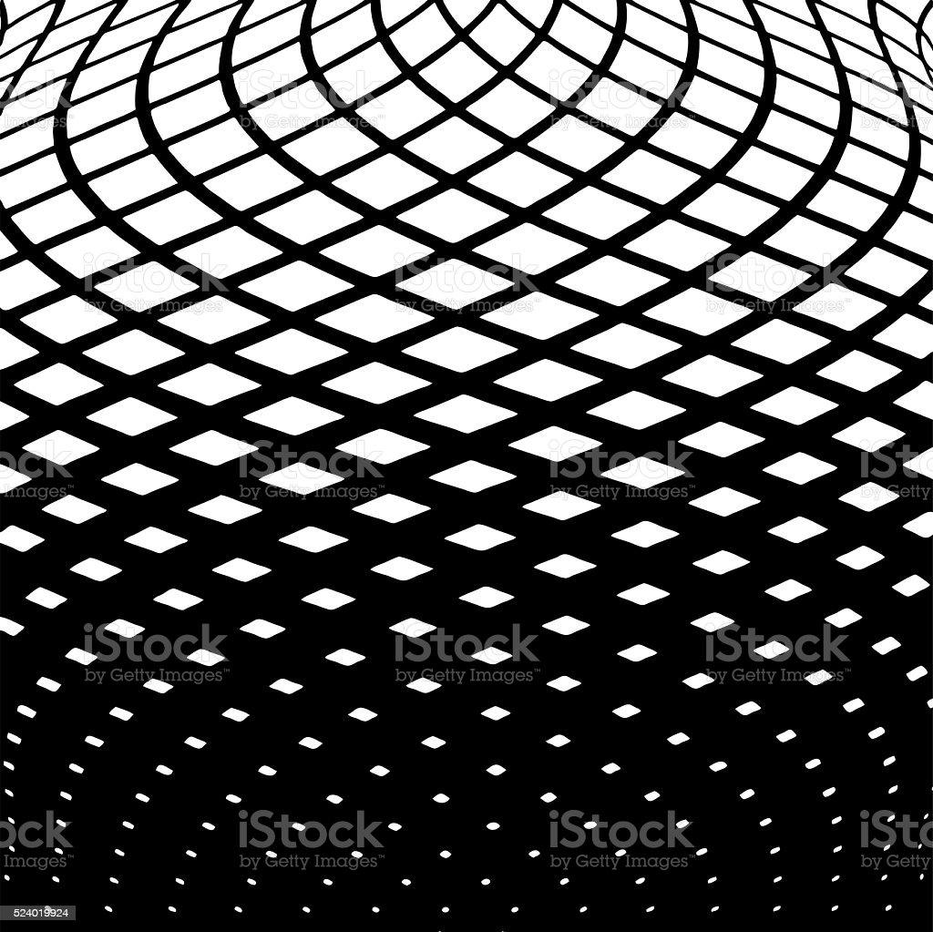 Wavy Grid Halftone Pattern Background vector art illustration