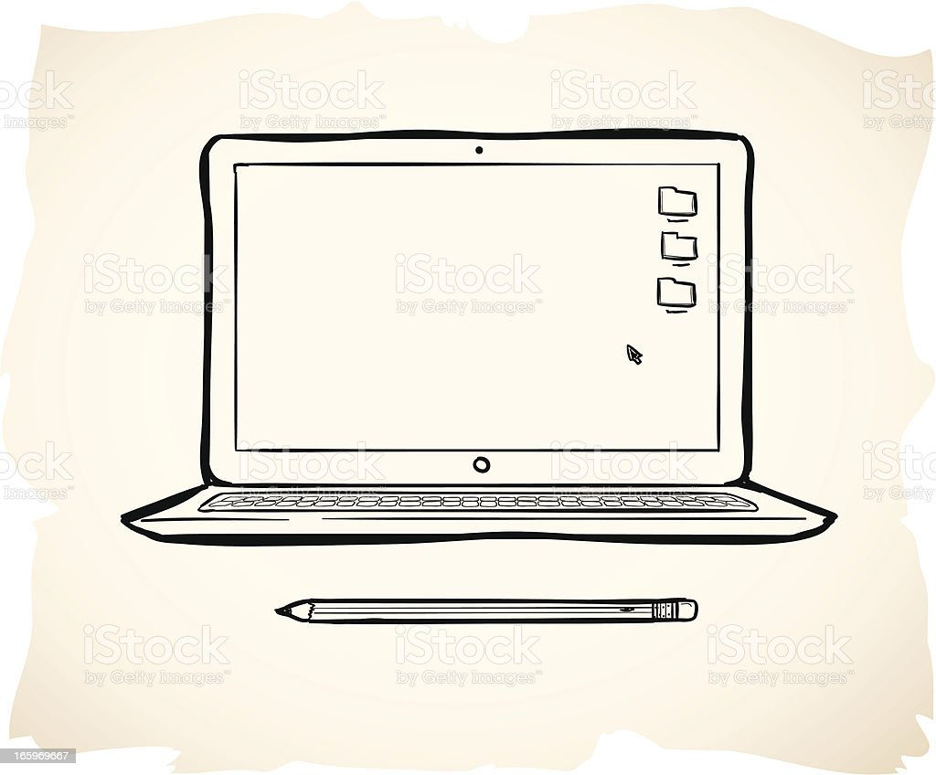 Wavy illustration of pencil and laptop over pink vector art illustration