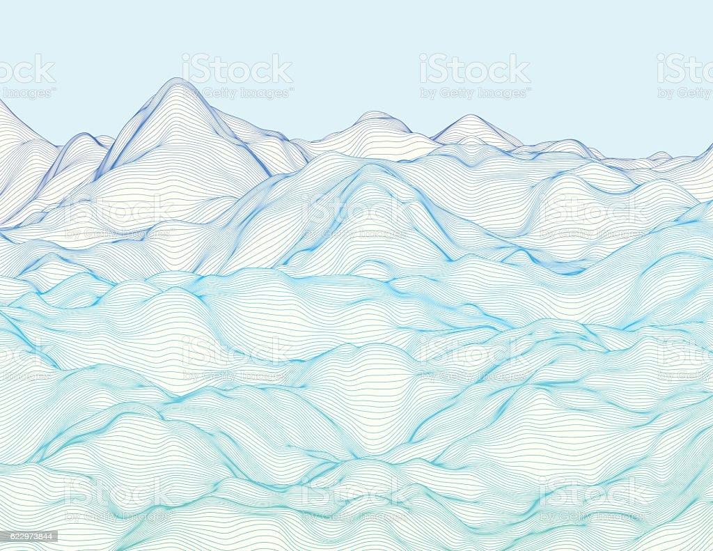 Wavy linear landscape vector art illustration