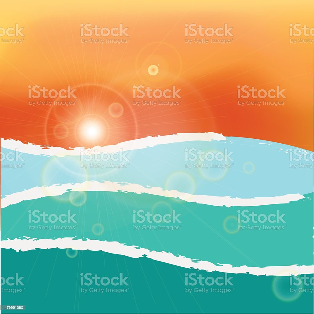 Wavy sea sunset or sunrise. RGB with global colors vector vector art illustration
