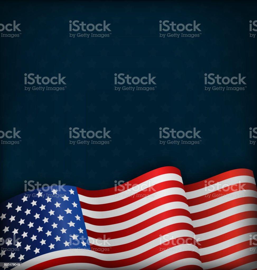 Wavy USA National Flag on Blue vector art illustration