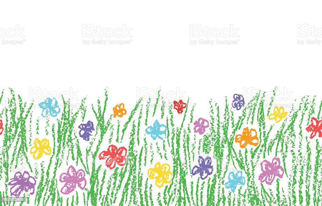 Wax crayon hand drawn green grass with color flower vector art illustration