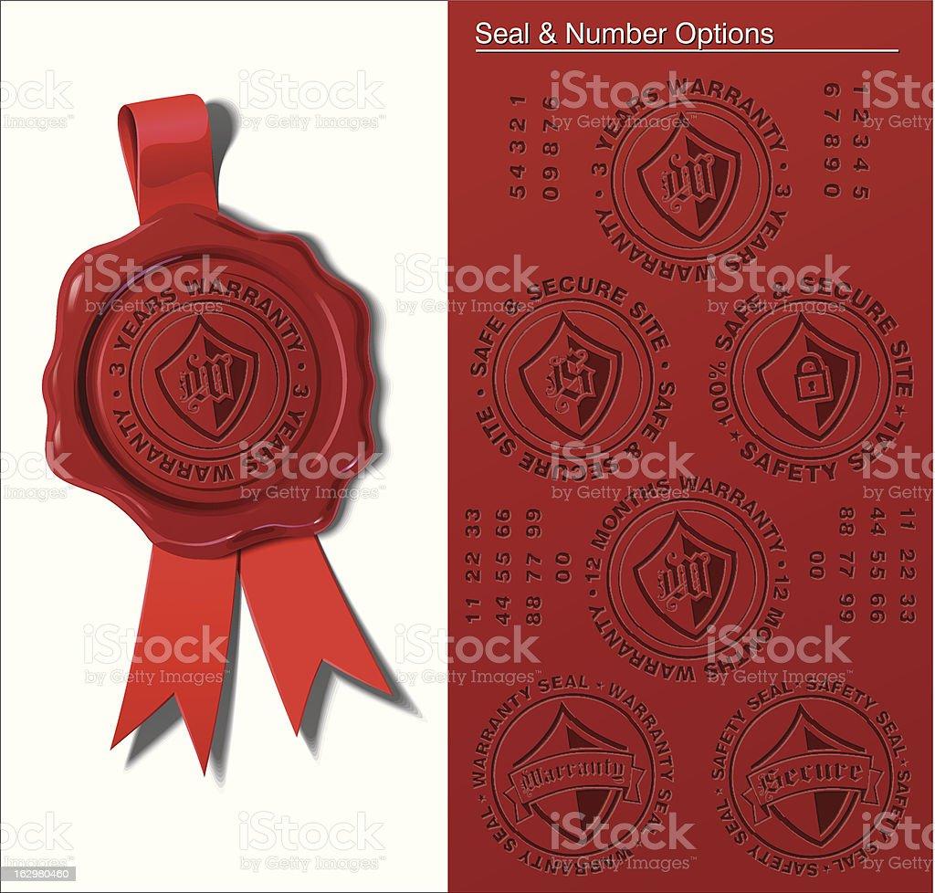 Wax Seal - Warranty & Safety vector art illustration
