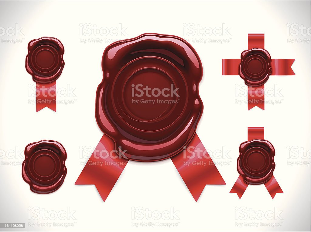 Wax seals with ribbons vector art illustration