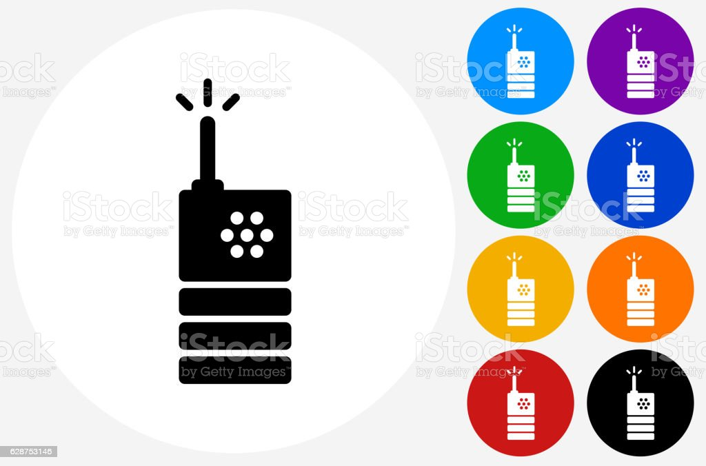 2 Way Radio Icon on Flat Color Circle Buttons vector art illustration