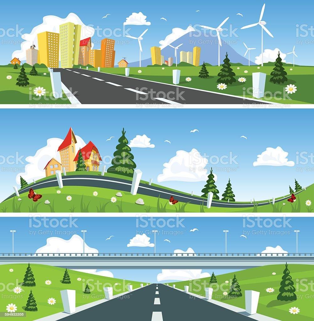 Way through nature banner. Vector vector art illustration