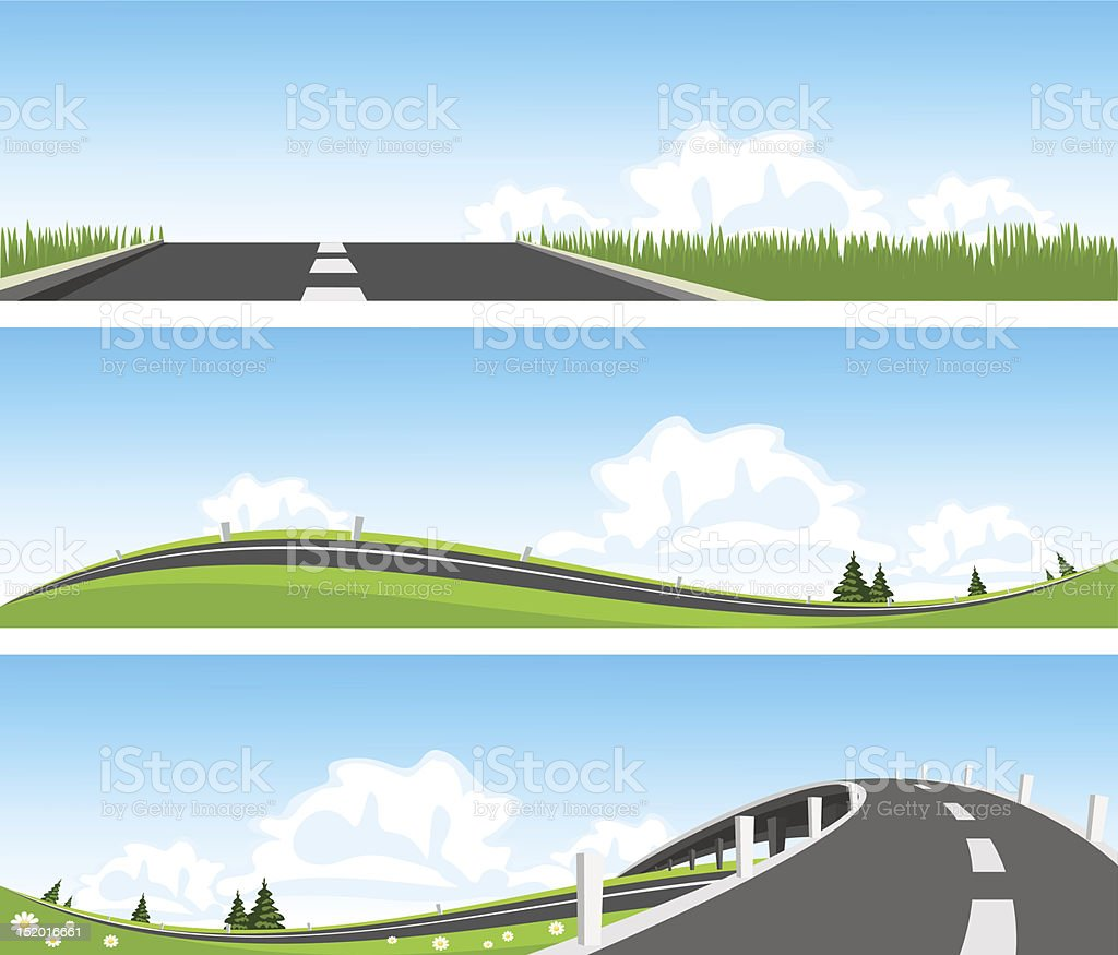 BANNER - Way through nature. Vector royalty-free stock vector art