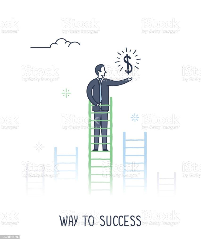 Way to Success vector art illustration
