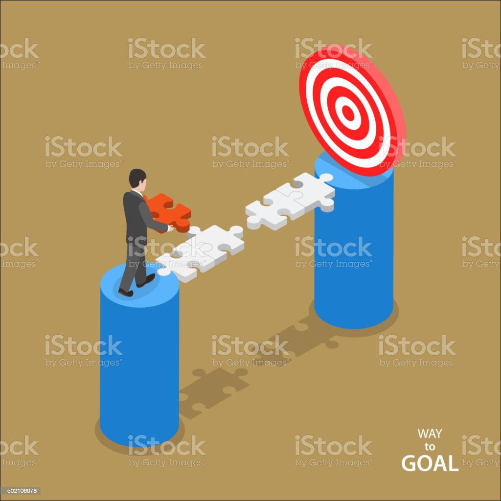 Way to the goal isometric flat vector concept. vector art illustration