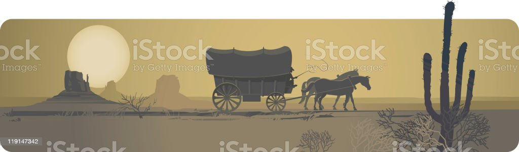Way to the West vector art illustration