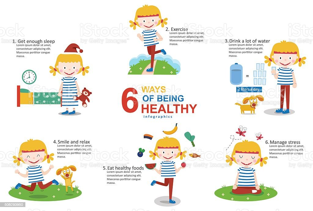 6 Ways of Being Healthy Infographics vector art illustration