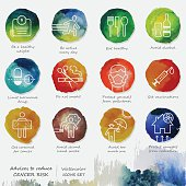 Ways To Reduce Cancer Watercolor Icons Set