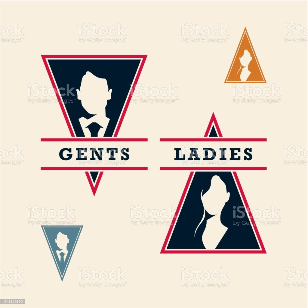 wc icons, gents and ladies signs vector art illustration