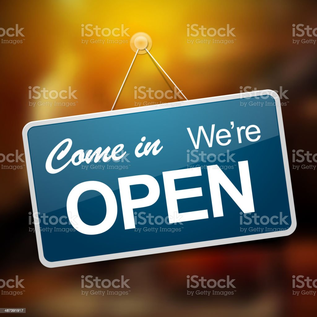 We are open sign vector art illustration
