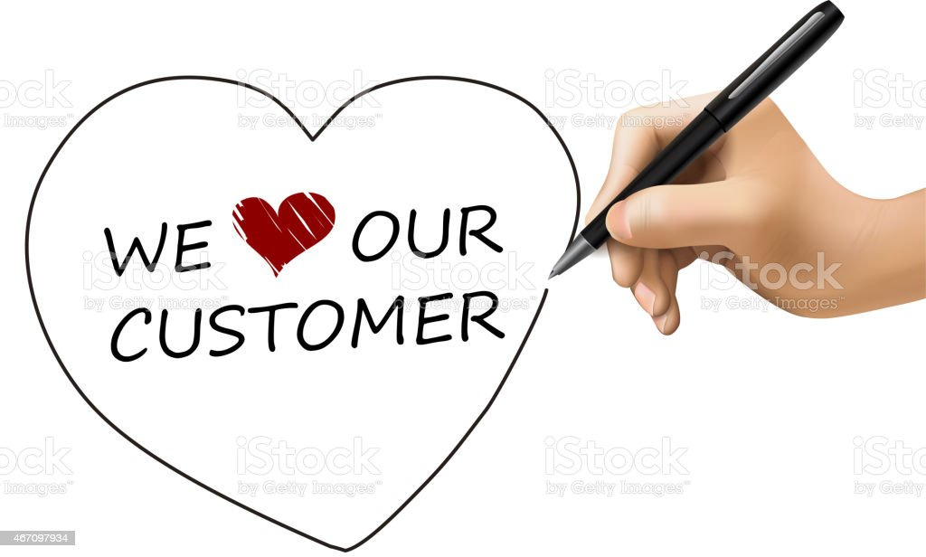 we love our customer written by 3d hand vector art illustration