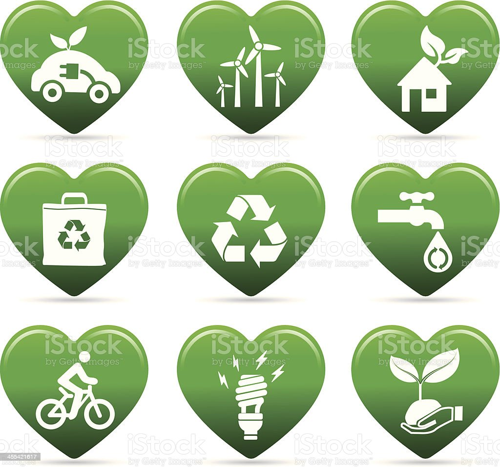 we love recycle and green energy vector art illustration