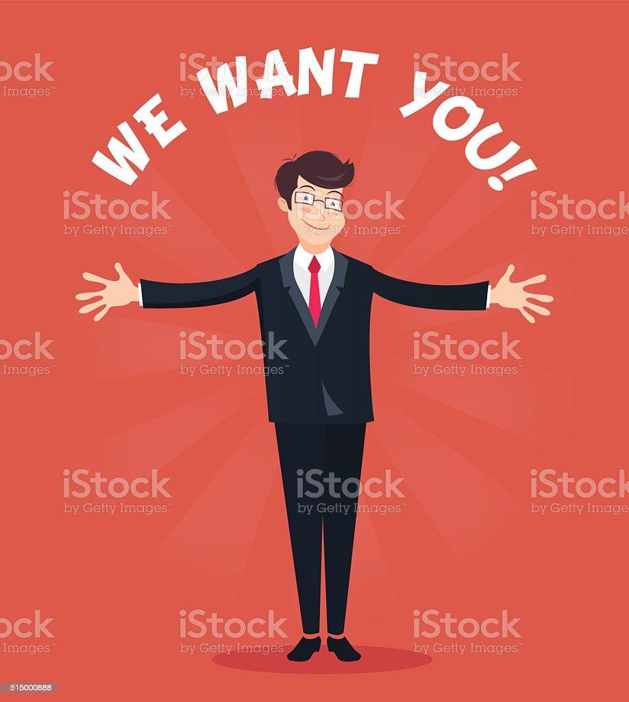 We want you concept, hr concept vector art illustration