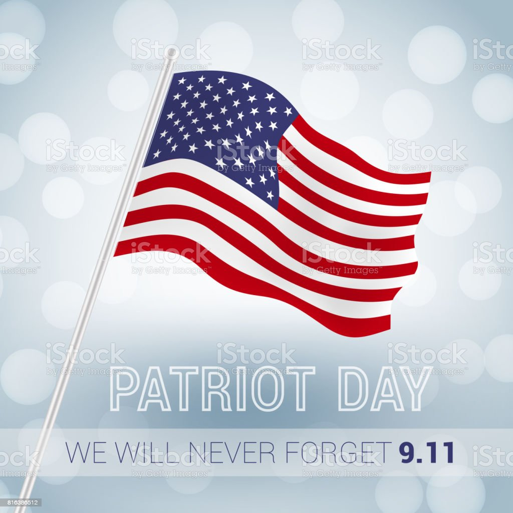 We will never forget 9.11 Patriot Day with USA flag illustration. vector vector art illustration