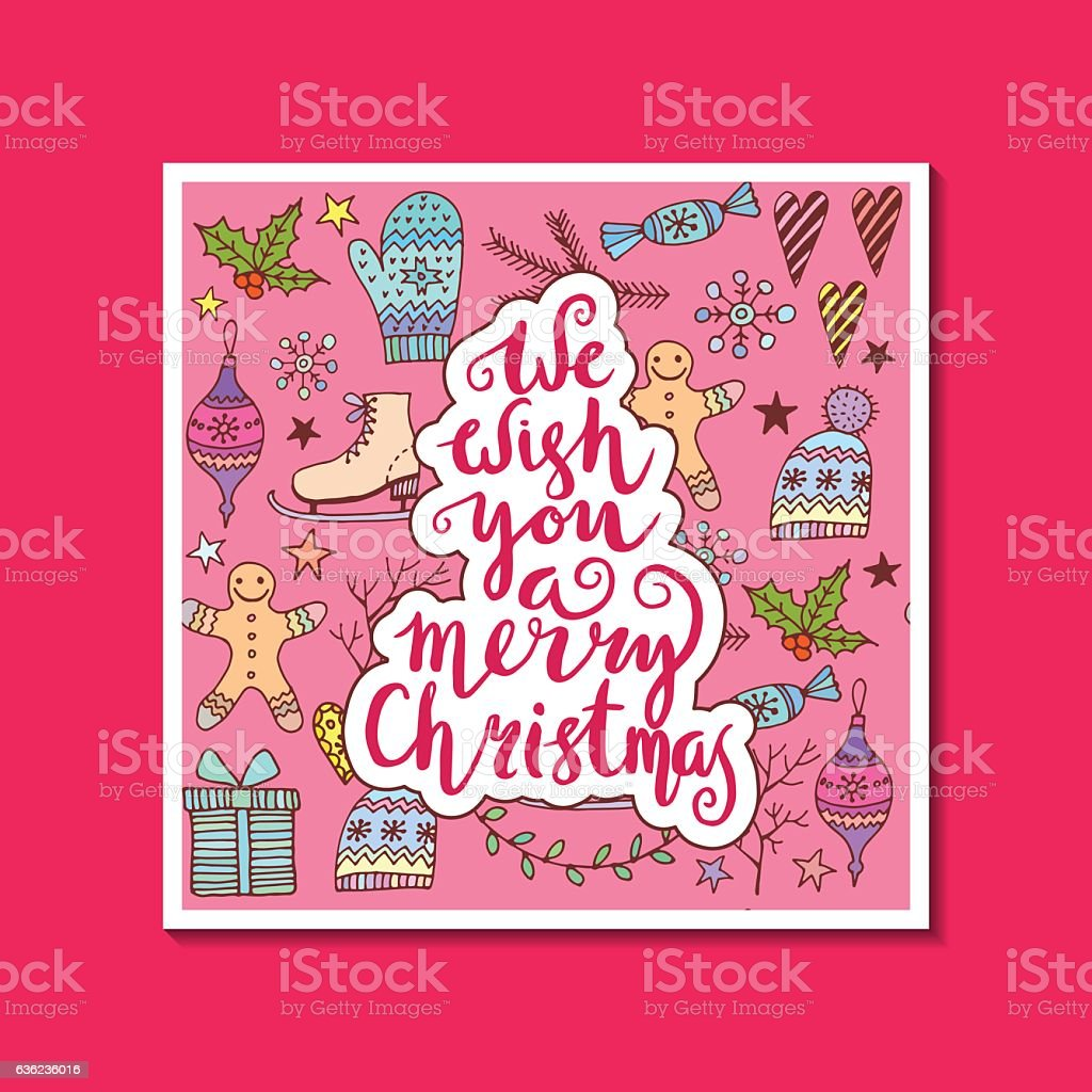 We wish you a merry Christmas - quote on patterned royalty-free stock vector art