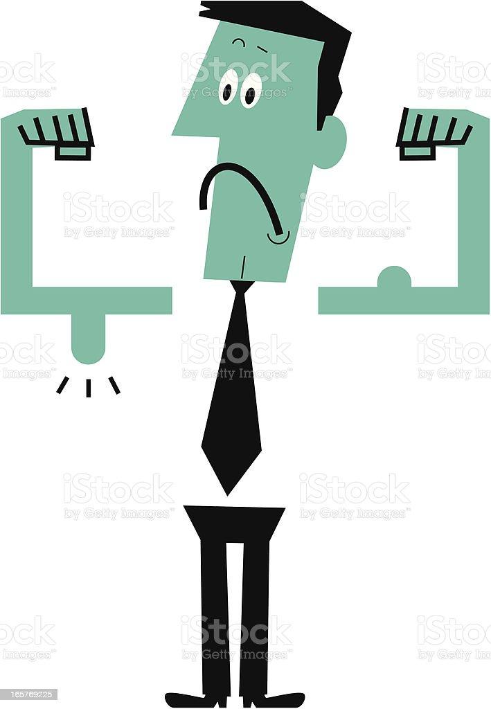 Weak man showing his muscles vector art illustration