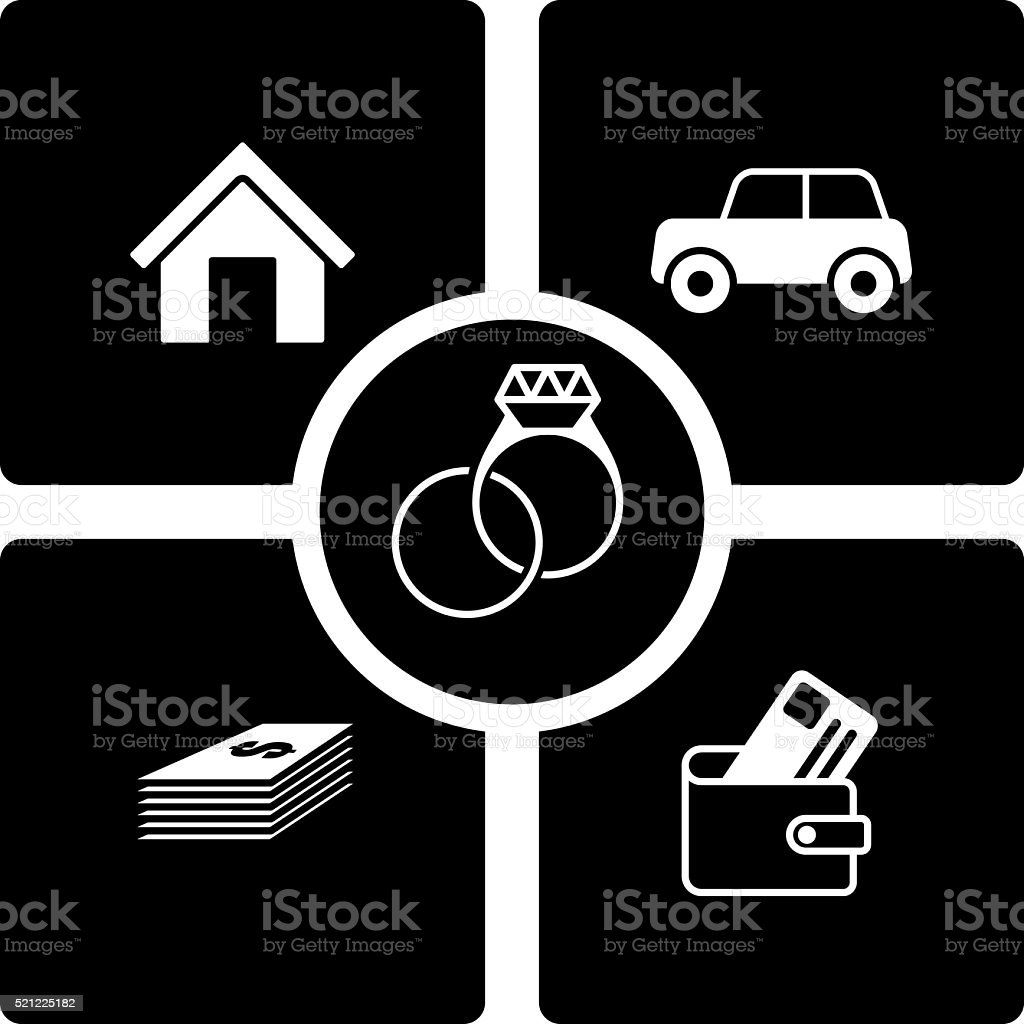 Wealth and Marriage vector art illustration