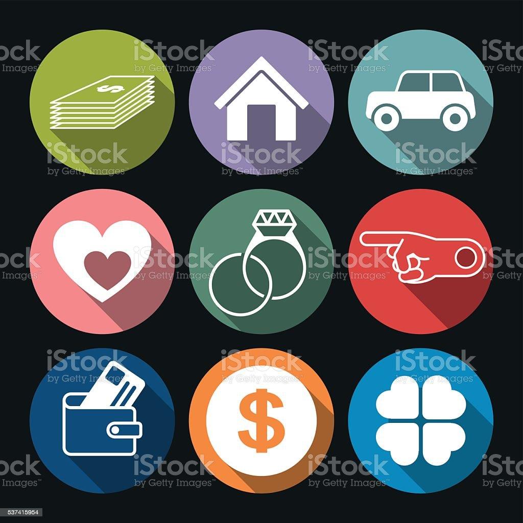 Wealth Icons vector art illustration