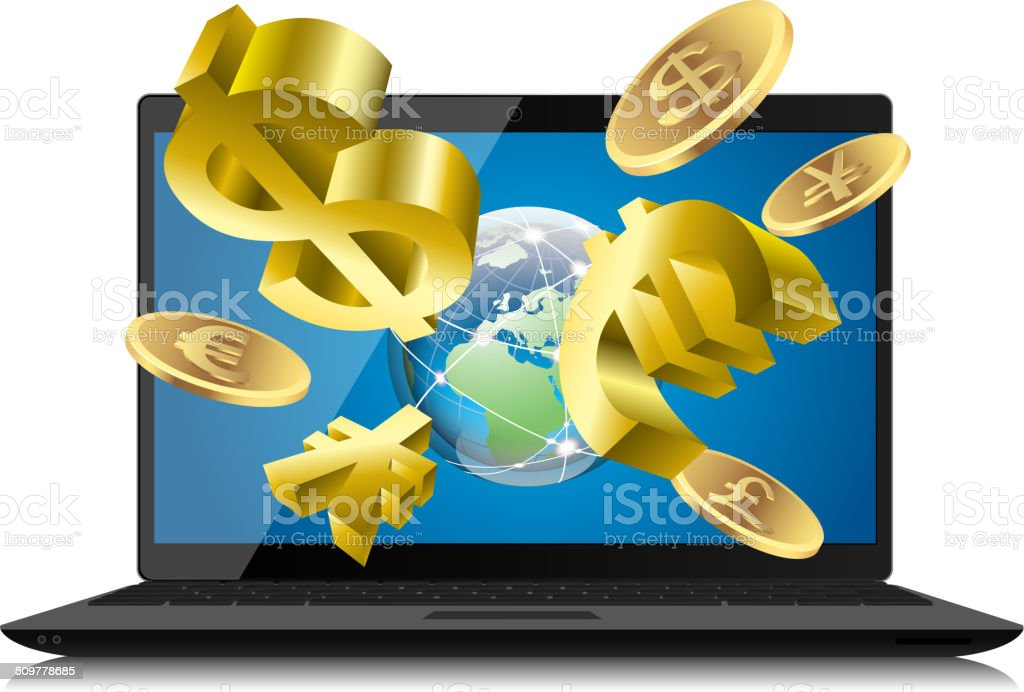 Wealth in internet vector art illustration