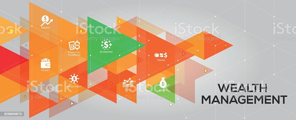 Wealth Management banner and icons vector art illustration