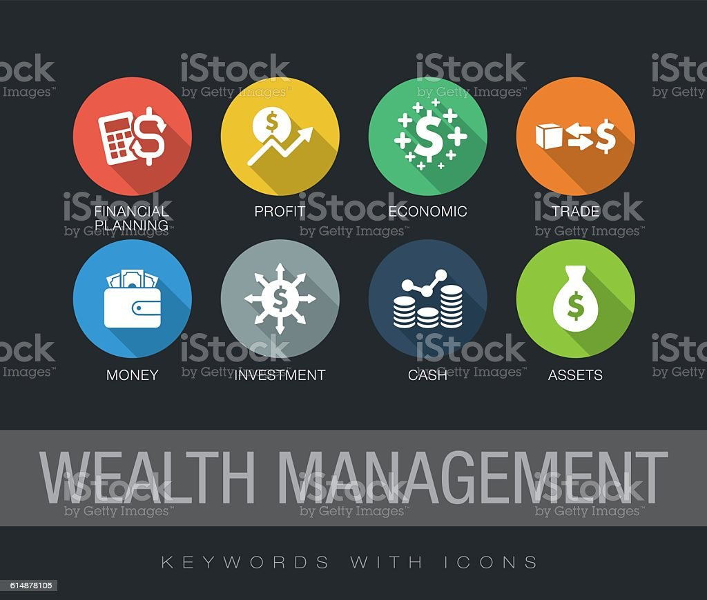 Wealth Management keywords with icons vector art illustration