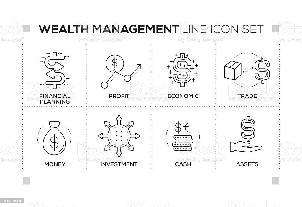 Wealth Management keywords with monochrome line icons vector art illustration