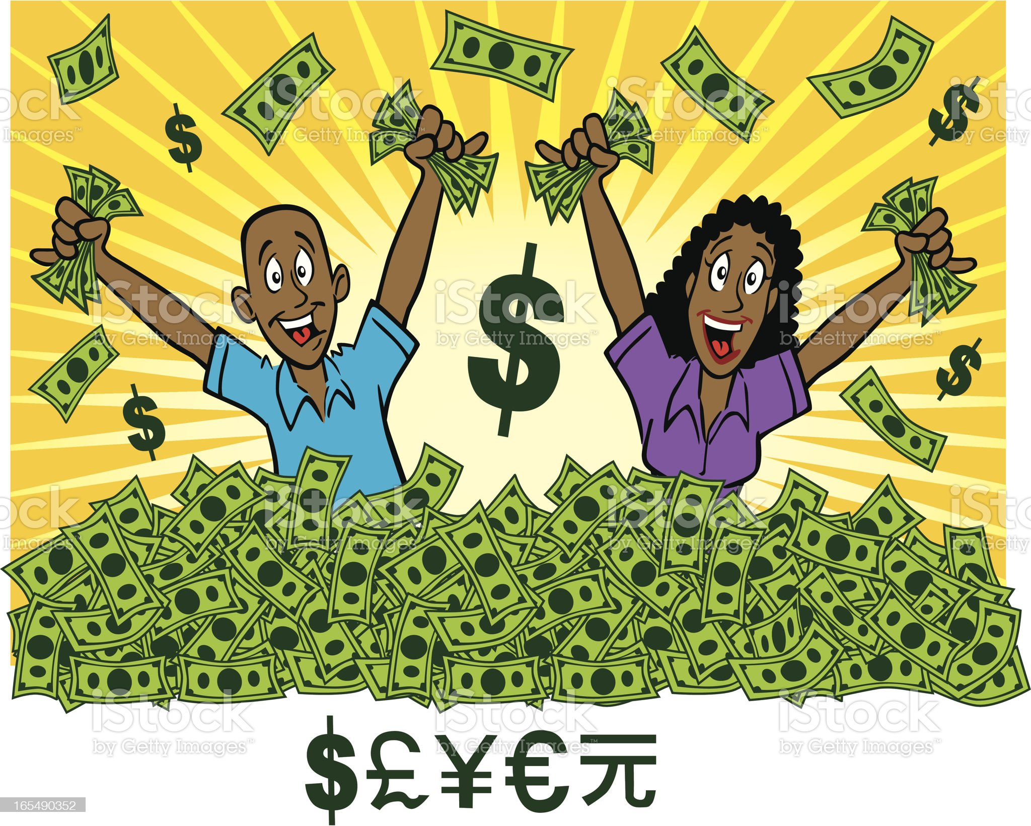 Wealthy African Americans with Cash royalty-free stock vector art
