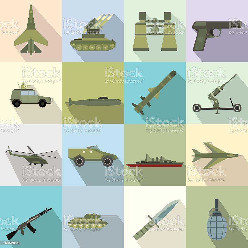 16 weapon flat icons set vector art illustration