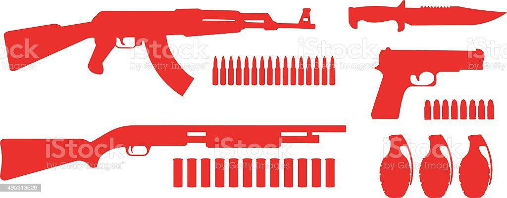 Weapon game resources silhouettes pack vector art illustration
