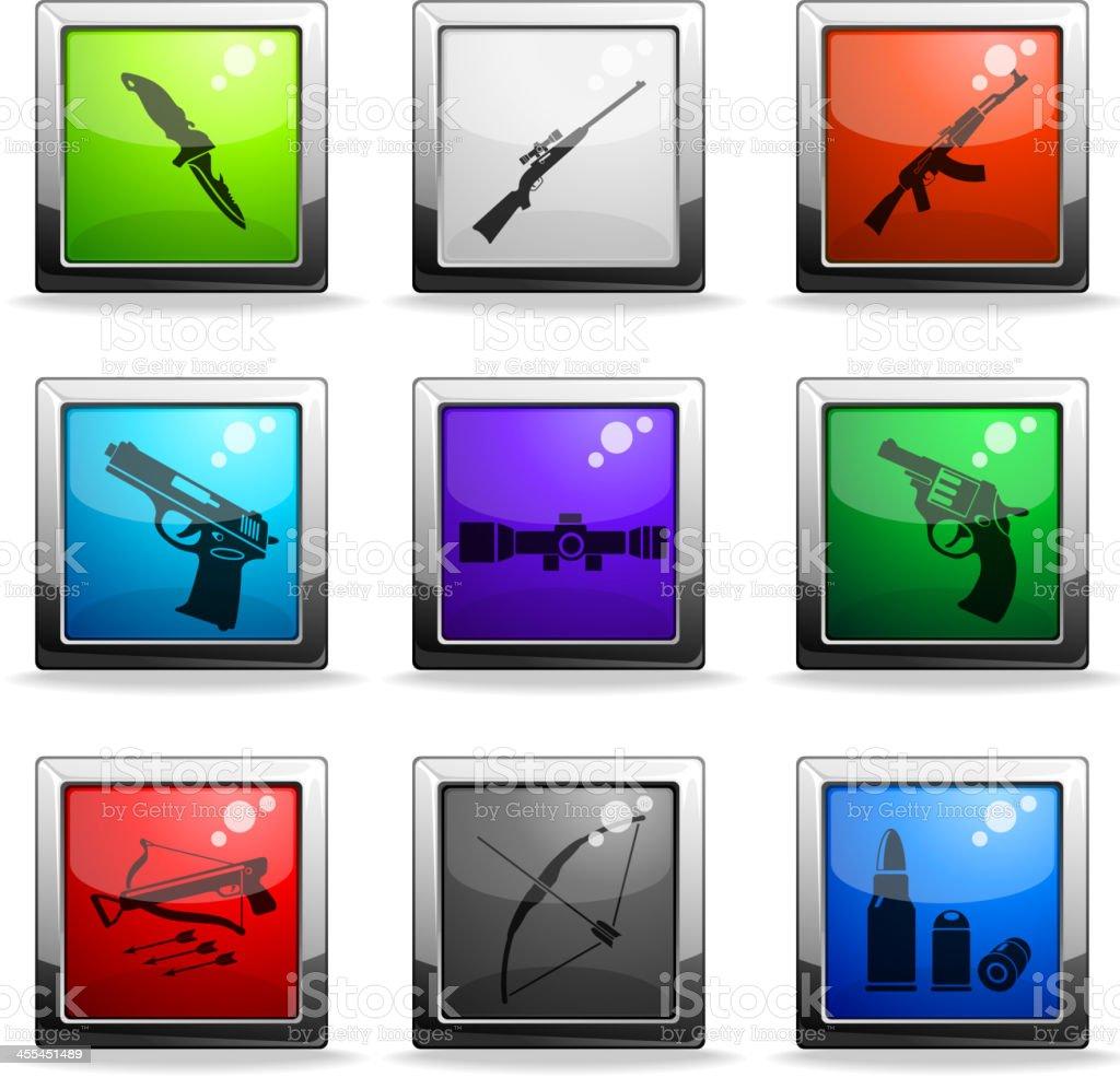 Weapon icon set vector art illustration