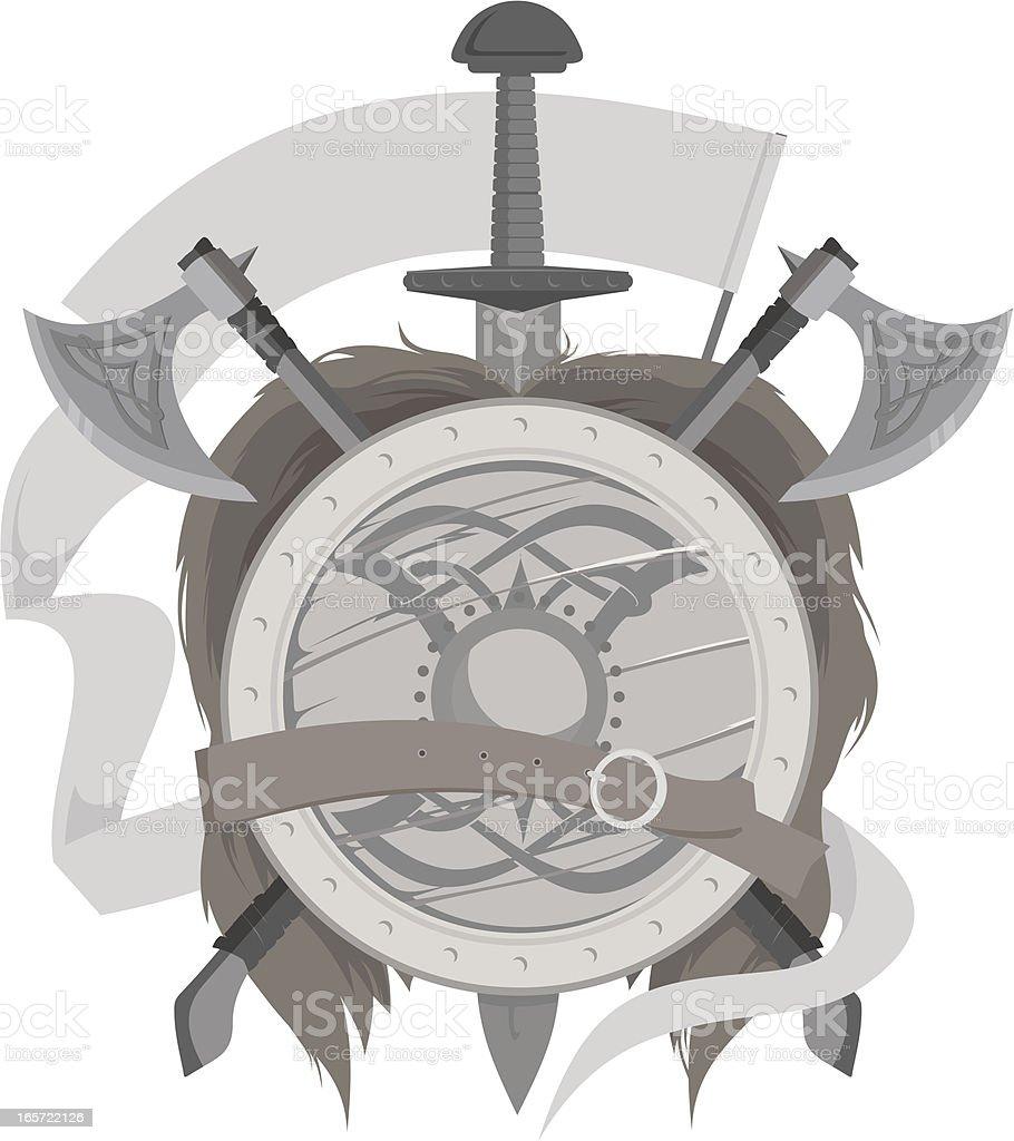 weapon of vikings vector art illustration