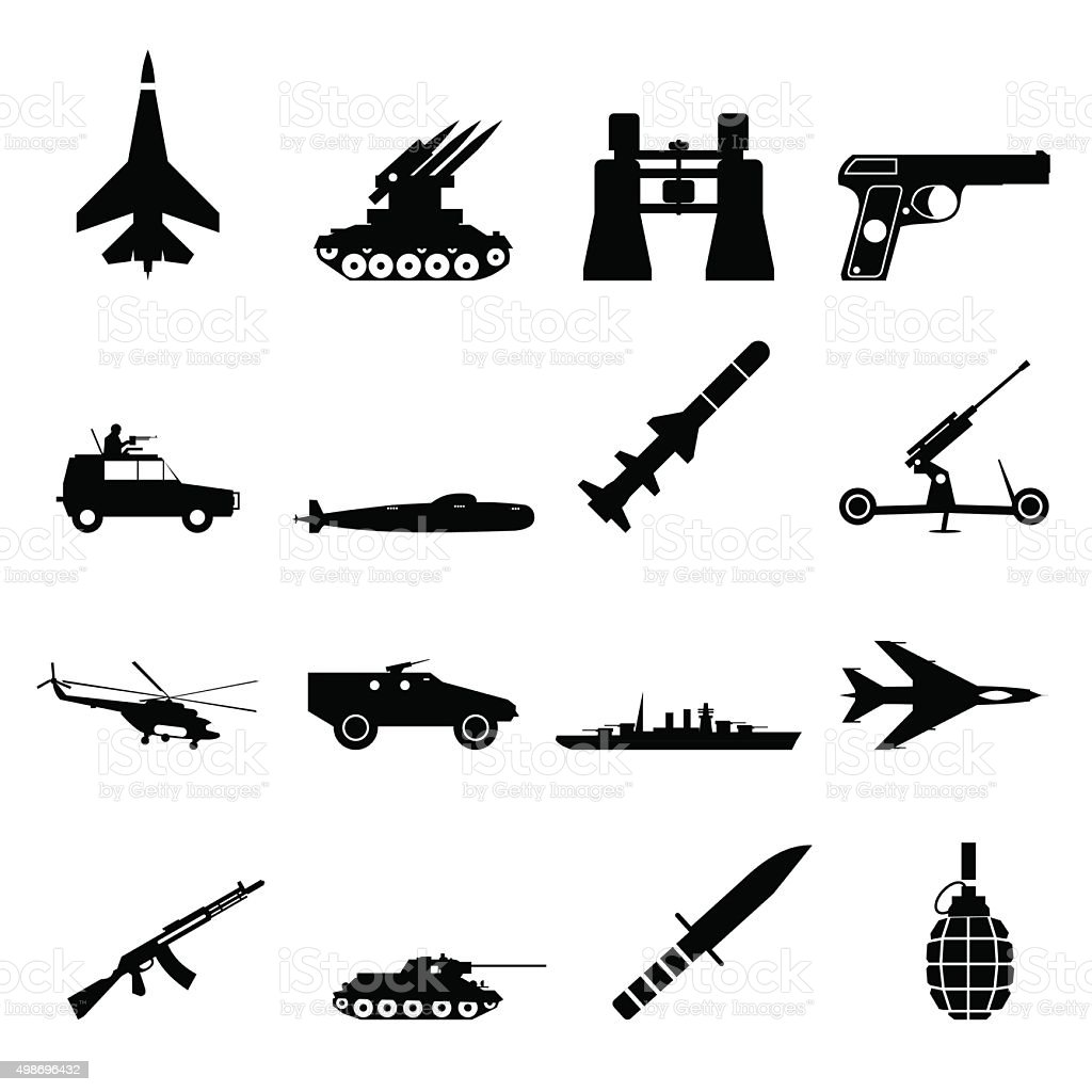 16 weapon simple icons set vector art illustration