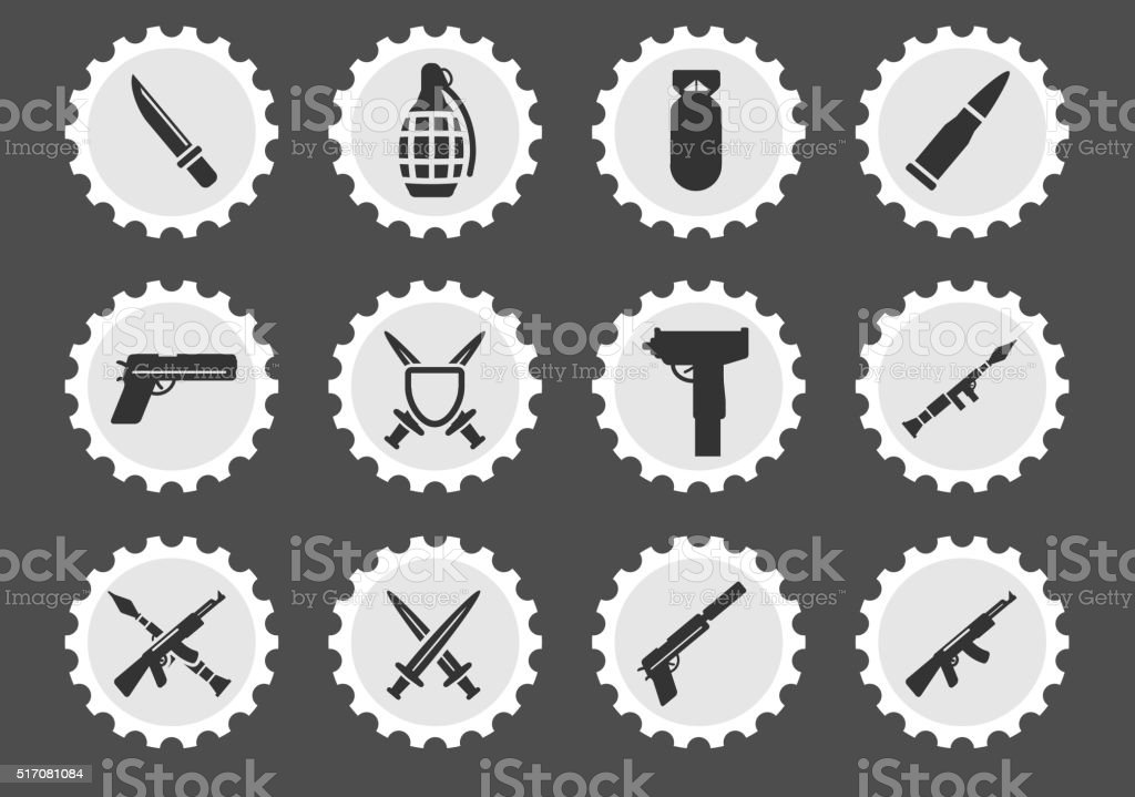 Weapon simply icons vector art illustration