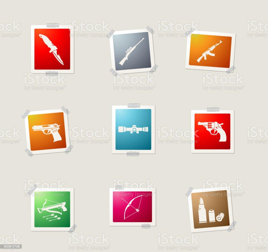 Weapon symbols icon set vector art illustration