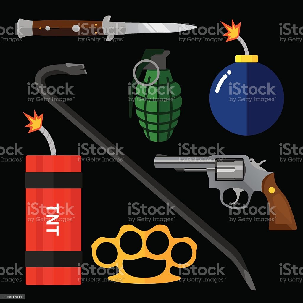 Weapons Flat vector art illustration