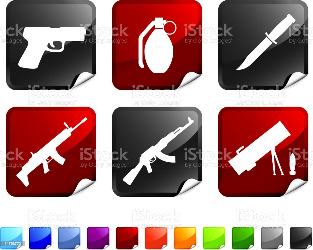 weapons royalty free vector icon set stickers royalty-free stock vector art