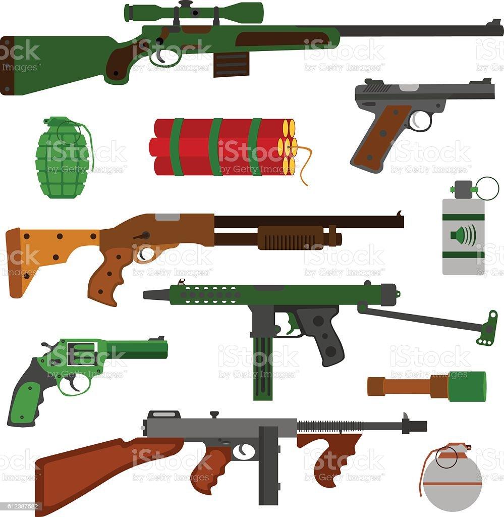 Weapons vector guns collection. Vector gun illustration on white background. vector art illustration